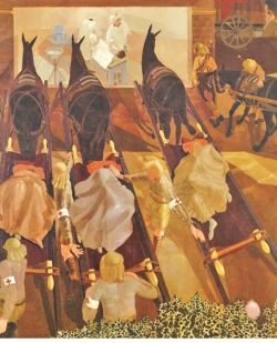 Stanley Spencer's Travoys Arriving with Wounded at a Dressing-Station (1919)