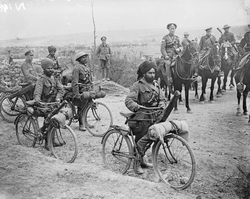 Indian bicycle troops at a crossroads on the Fricourt-Mametz Road, Somme, France